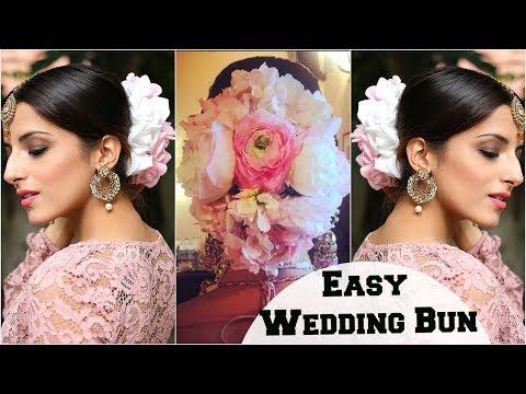 Anushka Sharma Wedding Bun Hairstyle & Bridal Look: Flower Bun Hairstyle Tutorial For Indian Parties