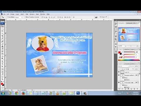 How to make an Angel Baptism/Christening Invitation Card Using Adobe Photoshop CS6, CS5, CS4, CS3