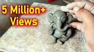 Easy Ganesha Making Process in Clay- Cuteee Ganapati Papa make in 5 min