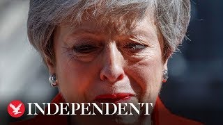 Theresa May breaks down in tears as she announces her resignation as prime minister