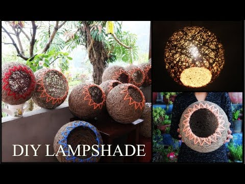 Lampshade ,lanterns with yarn or twine on a budget- DIY