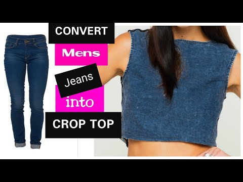 DIY || Recycle Old Jeans Into Crop Top~
