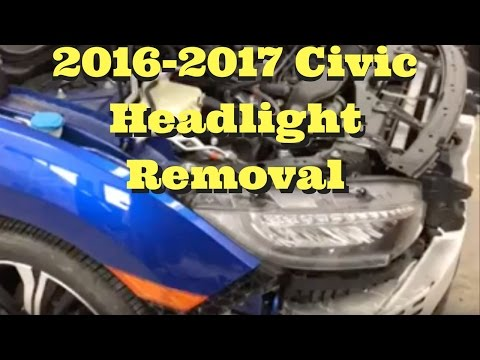 2016 2017 2018 Honda Civic ---- Headlight Removal Replace Install How to