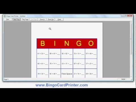 Addition Bingo Cards - how to create with the Bingo Card Maker by BingoCardPrinter.com