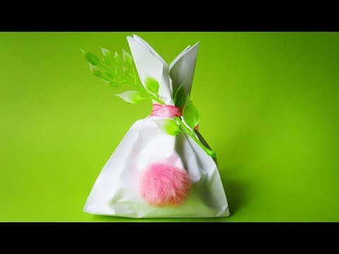 DIY Origami Bag Rabbit Tail | How to Make a Paper Bag with Tail