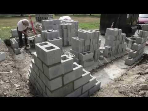 Block laying  a garage wall area