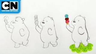 We Bare Bears | Draw Ice Bear in 15 Seconds vs 5 Minutes | Cartoon Network | LET
