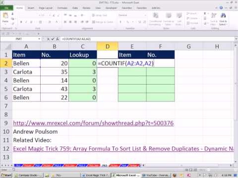 Excel Magic Trick 763: Formula to Sort Words (including Duplicates) and extract data