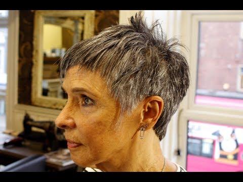 HOW TO CUT Short Funky PIXIE hair ON GREY HAIR textured crop choppy