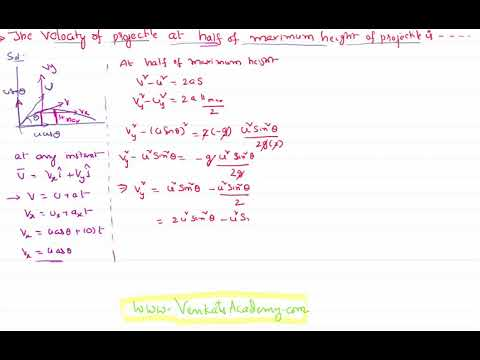 Velocity of Projectile at Half of Maximum Height : Motion in a Plane Problem with Solution