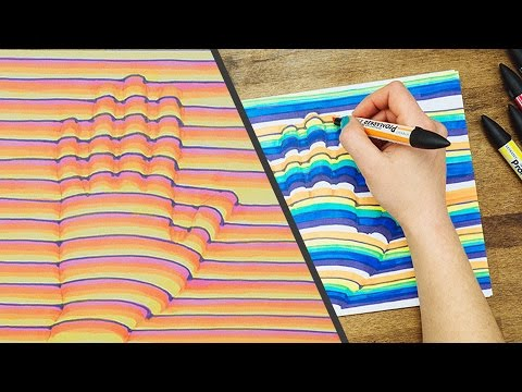 3D Hand Drawing Step by Step How-To // Trick Art Optical Illusion