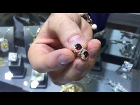 Garnet Diamond Earrings