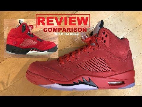 0c0fbe5a2a2a38 Air Jordan 5 Red Suede 2017 Retro Sneaker Review VS Toro Bravo Comparison