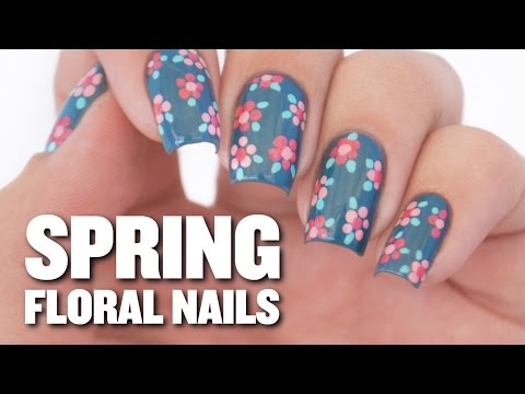 Easy Spring Floral Nail Art Design