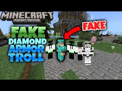 FAKE Diamond Armor Troll In Minecraft Pocket Edition! | Minecraft PE Survival Games