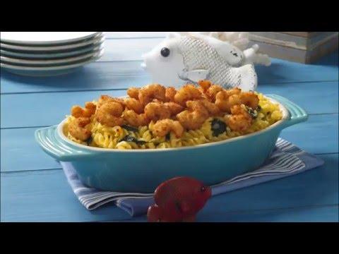 Popcorn Shrimp and Spinach Pasta Bake