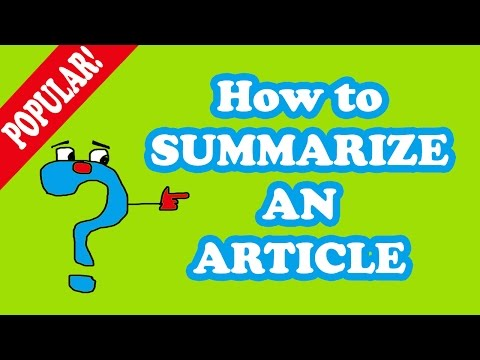 Article Writing How To Summarize An Article