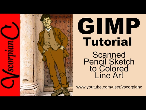 GIMP Tutorial - How to Clean up Scanned Pencil Sketch & Color Line Art by VscorpianC