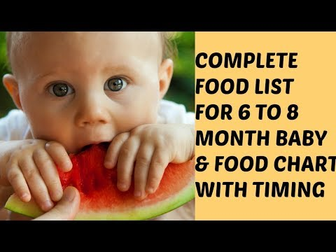 6 to 8 months baby food chart | Complete food list for 6 to 8 month babies