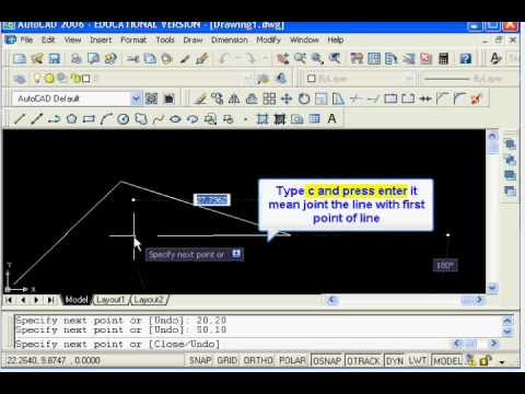 AutoCAD Tutorial: Draw line using absolute coordinates system
