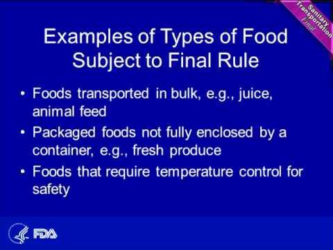Final Rule for Sanitary Transportation