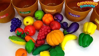 Learn Food Names with Colorful Fruits and Vegetable Toys!