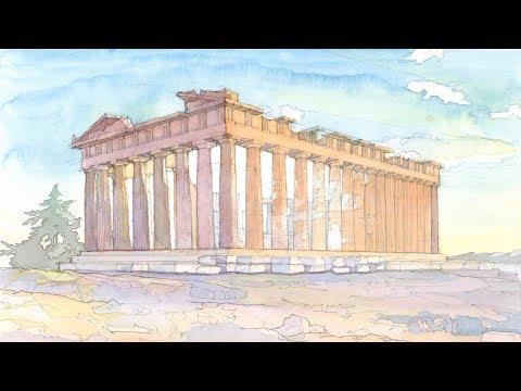 Monuments in Watercolor Ep # 03 Parthenon at Athenian Acropolis Greece