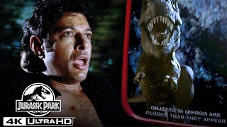 """""""Objects in Mirror Are Closer Than They Appear"""" T. Rex Jeep Chase Scene in 4K HDR   Jurassic Park"""