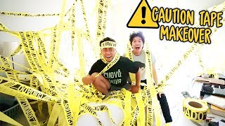 CAUTION TAPE ROOM MAKEOVER PRANK!