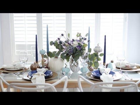 A BLUE THANKSGIVING- TABLE DECOR IDEAS   CLACALI