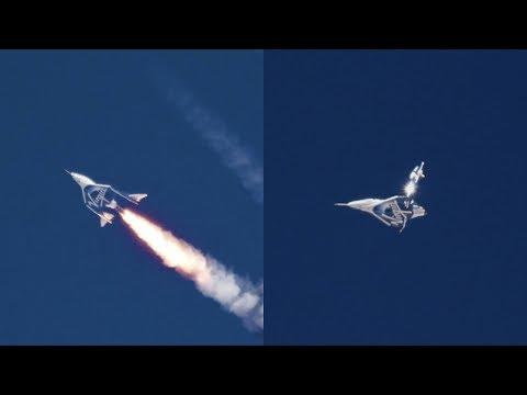 Virgin Galactic SpaceShipTwo spaceplane powered flight (close-up)