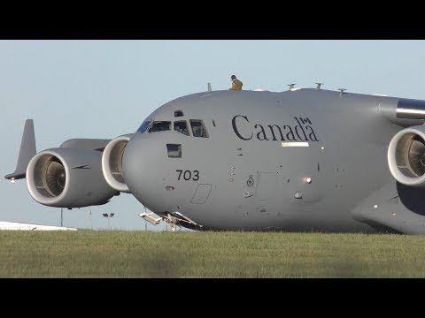 Amazing Royal Canadian Air Force C17 Takeoff from Leeds Bradford Airport