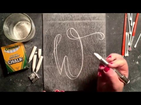 SheShe Design Chalk Script Lettering UPPERCASE W