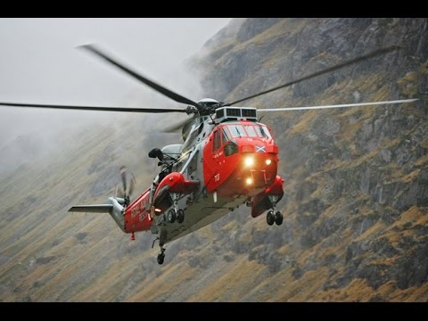 Search and Rescue Sea King helicopters based at HMS Gannet farewell flight over Stirling