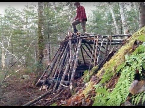 Bushcraft Survival Shelter No Cordage Used!