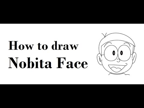 How to draw Nobita face drawing from Doraemon step by step
