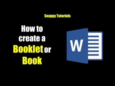 Create a Booklet or Book - Microsoft Word