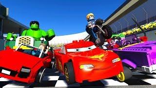 LEGO RACE TRACK PRANK Lightning McQueen The Hulk JOKER Pranks all SUPERHEROES Cars Animated Movie