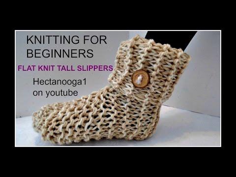 1156yt  KNITTED TALL SLIPPERS , or crochet tall slippers, knitting for beginners