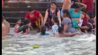 girls enjoing bath in haridwar- ganges
