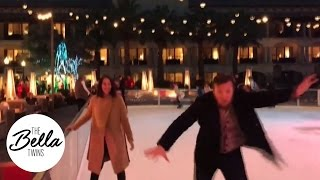 Brie Bella helps a wobbly Daniel Bryan ice skate for the first time