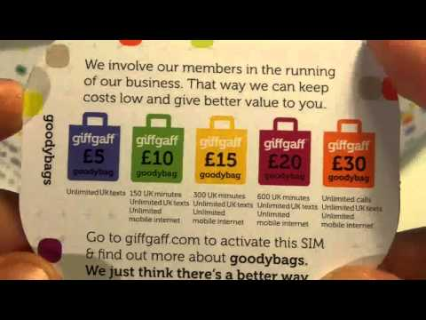Opening Giff Gaff Free Sim Card and Testing it