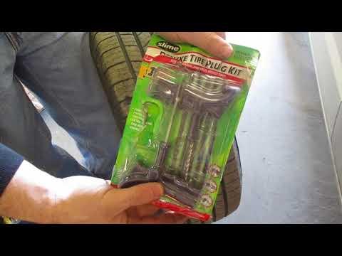 How to Repair Nail hole in Flat tire Fix a Flat Tire Repair Kit Car Screw puncture leak SLime