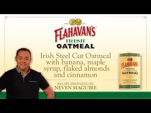 Flahavan's Irish Steel Cut Oatmeal  with banana, maple syrup, flaked almonds and cinnamon