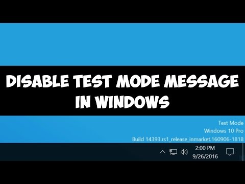 Disable test mode message in Windows