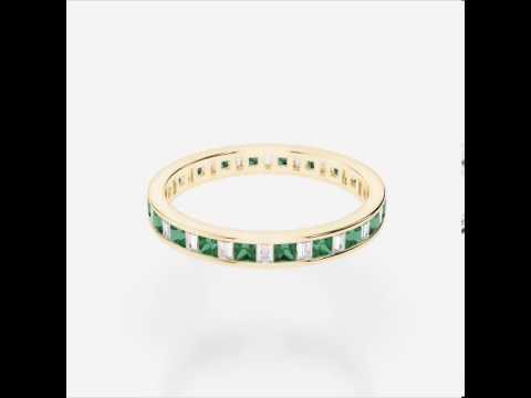 Yellow Gold Emerald Diamond Eternity Ring   YGold Emerald Eternity Ring 1140