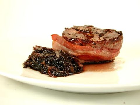 Bacon Wrapped Steak with Balsamic Onion Relish