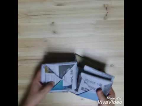 Origami - how to make newspaper ddakji 신문지로 딱지 접기