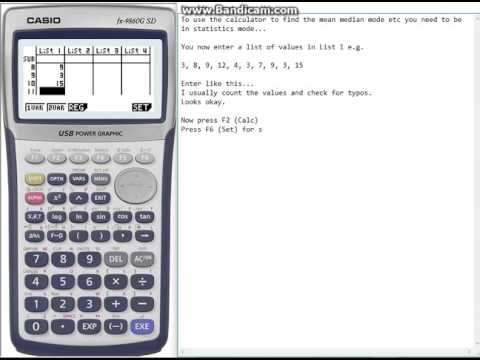 Casio 9750gii how to find mean, median, mode and range