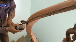 Amazing Techniques Especially Making Curved Handrail For Wooden Stairs You Have Never Seen (Part 2)